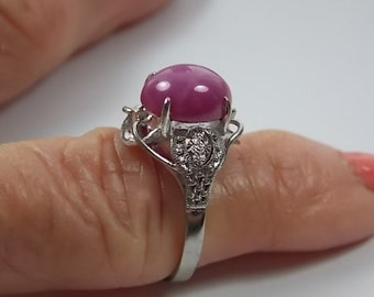 1960s Star Ruby Ring 3.15 Carats Size 6 White gold 10K 4.4gm