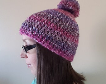 Pink and Purple Puff Ball Hat, Crochet Hat with Puff Ball, Crochet Beanie with Puff Ball