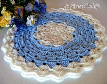 Crochet Placemat Pattern 191 Blue Winter Placemat Crochet Patterns DIY Placemat Crochet Round Lace Placemat Home Decor Christmas Gift Party