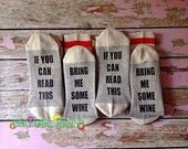 TWO PACK, Bring me Wine Socks, Bring Me, Silly Sayings socks, Wine Lovers, Wine Socks, Novelty Sock, Stocking Stuffers, Gift for hard to buy