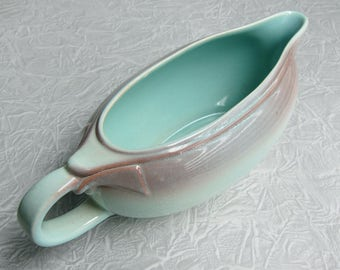 Mid Century Turquoise Gravy Boat, Two Toned Turquoise Gravy Boat, Robin's Egg Blue Gravy Boat, Vintage Gravy Boat, Aqua, Gravy Boat, Easter