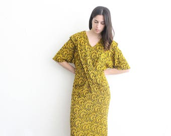 vintage knit retro mid length yellow wrap dress