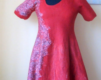 Nuno felted asymmetric dress  red-black-white.  Reversible  2 in 1