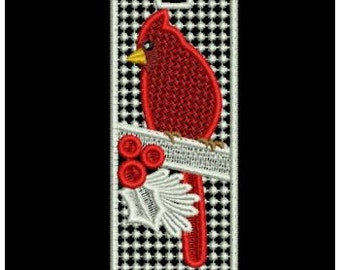 Cardinal Bird Bookmark, Lace Bookmark, Valentine's Day, Embroidered Bookmark, Red White