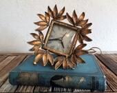 Mid Century Telechron Guild Crest Gold Clock