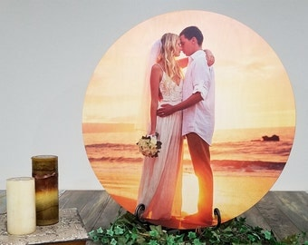 Print Your Photograph On Wood, Wood Photo Print, Picture Printed On Wood, Round 4 Sizes