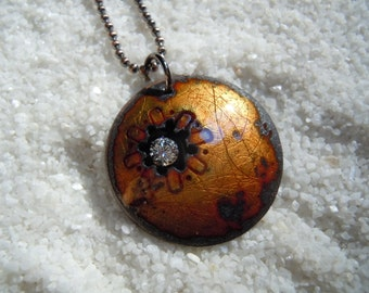 Golden Brown Enameled Dome Necklace Artisan Jewelry