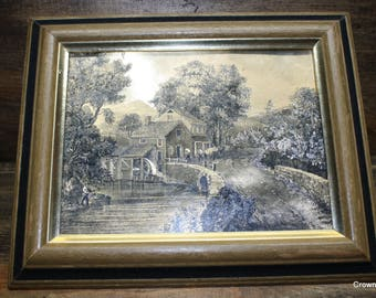 Currier and Ives Gold Foil Print - Fishing - Framed - Home Decor - Wall Hanging - Water Wheel - House