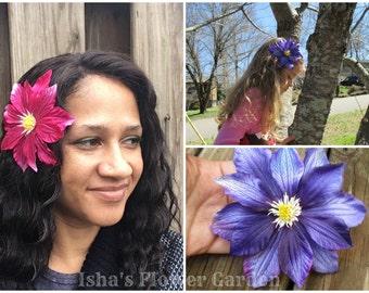 Clematis hair flower, Purple hair clip, realistic, big hair flower, big hair