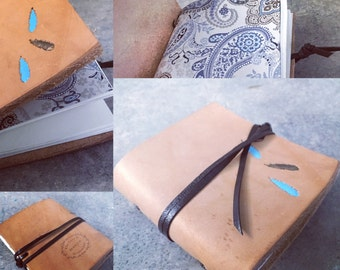 Feathers Leather Pocket Notebook