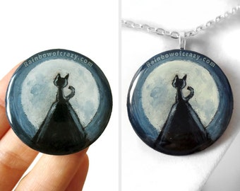 Full Moon Pendant, Black Cat Necklace, Hand Painted Wood Jewelry, Over the Hill,  Pet Owner Gift for Her, Resin Art, Original Painting