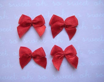 "1"" Red Satin Ribbon Bow Appliques for Sewing, Crafting, Doll shoes, Party Favor Boxes, Invitation Cards, 3/8"" Ribbon Wide, 32 or 100 pieces"