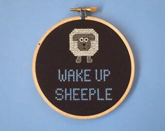 Wake Up Sheeple - John Oliver - Cross Stitch Hoop