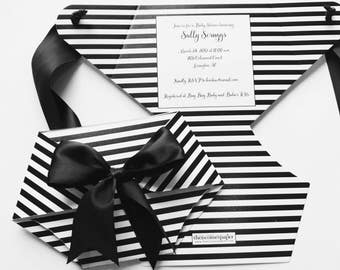 Black and White Striped Diaper Baby Shower Invitations, Diaper Shaped Baby Shower Invite, Diaper Shaped Invites, Die Cut Diaper Party #1034