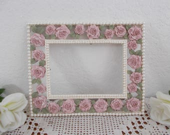 Vintage Pink Rose Faux Pearl Picture Frame 5 x 7 Photo Decoration Paris Apartment French Country Farmhouse Romantic Cottage Home Decor Gift