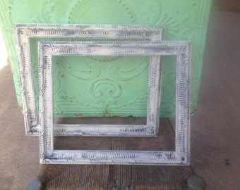 Set of Two Rustic Ivory and Dark Brown Vintage Frames, Home Decor Frame Set, Shabby Chic Home Decor