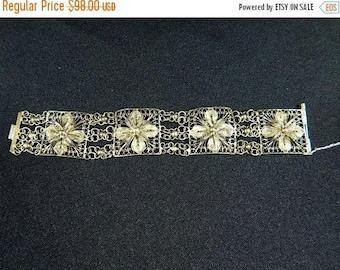 Spring Fling Sale Antique vintage Etruscan  sterling silver floral filigree 4 panel bracelet