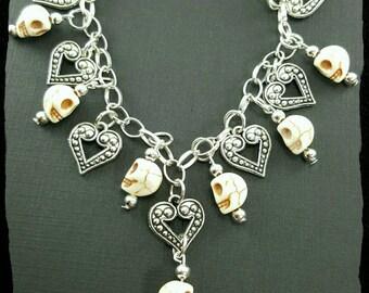Sugar skull bracelet, heart bracelet, skull and heart bracelet, day of the dead