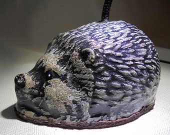 Hedgehog Study, Desk, Table LED Lamp, SHIPPING INCLUDED, Stone Statuary,  Over Three Pounds