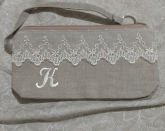 Rush order for Meghan Linen and Lace Clutch Wristlet with C monogram in ivory