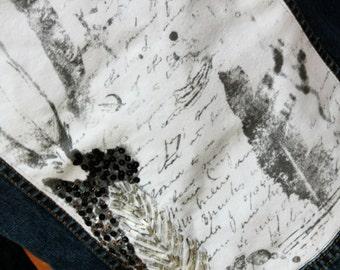 Jean Jacket, Silver Leaf Script Jacket, Women's Jacket