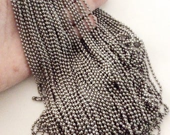 "25pcs silver ball chains 24"" long chains oxidized silver color gun metal color bulk wholesale destash"