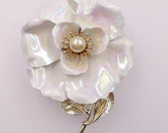 Big White Aurora Borealis Flower Pin Signed CORO Metal and Enamel 1960s 1970s Flower Power Brooch