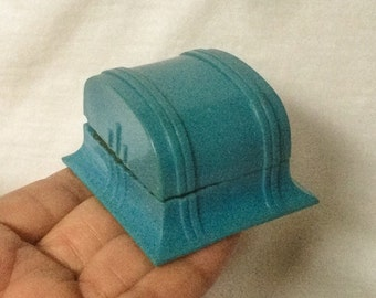 Art Deco Ring Box Blue Celluloid Plastic Wedding Jewelry Display Vintage Old