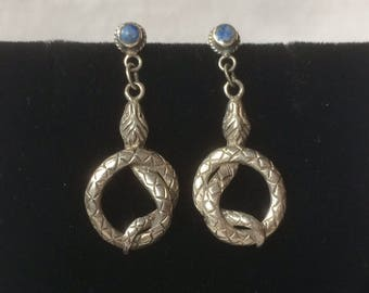 Fab Snake Earrings Sterling Silver 925 Lapis Lazuli Natural Stone Dangle Drop Pierced Vintage