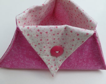 Large pink floral print thread catcher for sewing/craft projects