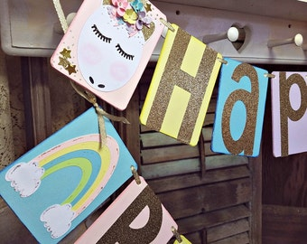 Happy Birthday Unicorn Banner, Pastel Colors, Gold Birthday Decor, Unicorns and Rainbows