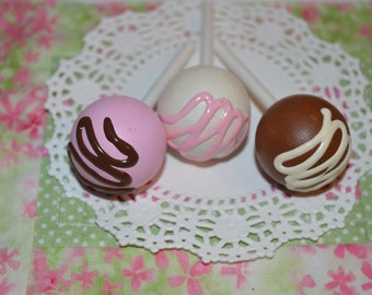 Bitty Play Food Chocolate Vanilla Strawberry Cake Pops Set of Three Doll Size Wooden Toy