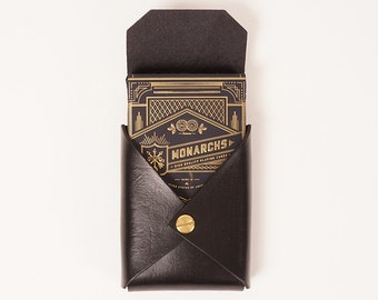 Playing card set with black leather case | KING