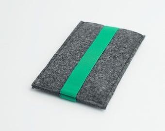 Samsung S7 case, Samsung S7 Edge sleeve, iPhone 7 Plus felt, gray with green strap