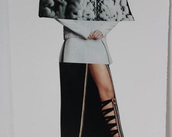 Original Magazine Collage Fashion Illustration // fashion art, collage art, black and white, spliced art, apartment art, art gifts, decor