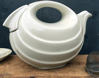 Hall Rhythm Teapot - Ivory - Six Cup Teapot - Art Deco Style