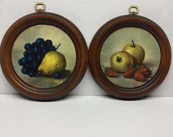 Wooden Round Framed fruit wall art decor