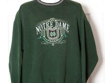 Vintage 90s NOTRE DAME Embroidered Sweatshirt - L