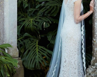 Custom order for KIMBERLEE- Cathedral Wedding Veil, Cathedral Lace Veil, Cathedral Length Veil, Alencon Lace Wedding Veil Chapel Veil Scallo