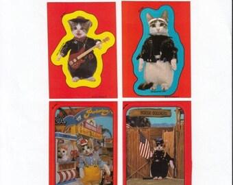 SALE Lot of Four Vintage Satoru Tuda Kitten Sticker Trading Cards - 80's Topps Cat Kitsch Dress Up Scrapbook Guitar Motorcycle Jacket