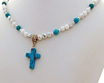 White Turquoise Howlite Stone Cross Designer Necklace