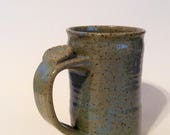 RESERVED Large Pottery Coffee Mug, Thumb Rest Handle, Turquoise Stoneware Cup