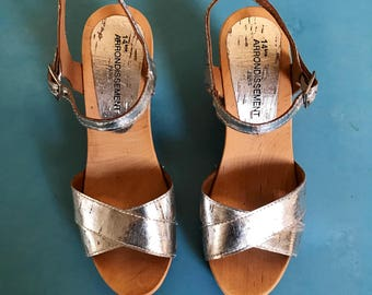 Vintage Silver Sandals - Ankle strap - 37/6.5
