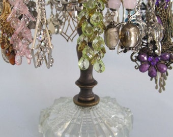 Earring Holder on Vintage Base | Antique Brass | Revolving | Store Display | Upcycled Lamp Parts | Holds 25 Pairs | Gifts for Her | Vintage