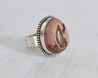 Mexican Fire Opal Ring, Raw Opal Statement Ring, Gemstone Ring, Sterling Silver Ring, Silver Stone Ring, One of a Kind Statement Ring