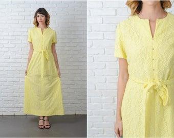 Vintage 60s 70s Yellow Mod Dress Maxi Cutout Boho Hippie Small S 9172