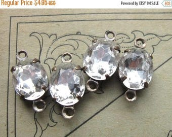 SALE 2-Loop Connectors 10x8mm Crystal Clear Glass Oval Rhinestones in Oxidized Brass Settings (4)