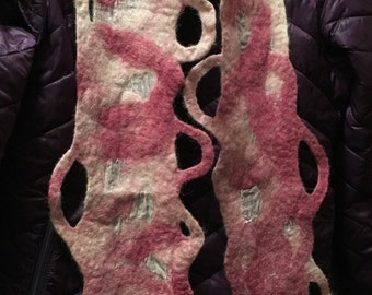 Wet Felted Alpaca and Silk Scarf