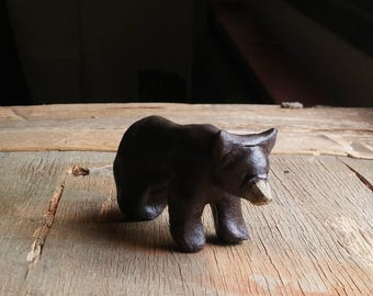 Brown Bear Totem Figurine, Bear Spirit Animal Small Clay Sculpture, Strength Symbol Gift, Handcrafted Bear Miniature ooak Collectible