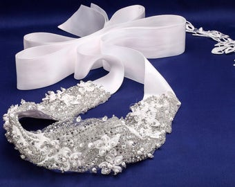 Bridal Sash, Rhinestone Sash, Wedding Belt, Pearl Bridal Sash, Jeweled Beaded Sash, Swarovski Sash, Romantic Bridal Sash, Bridal Belt